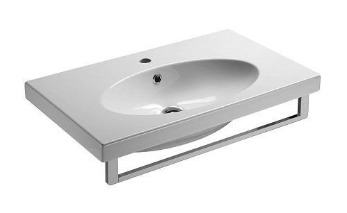 Saneux Panoramic 75cm x 45cm square 1 tap hole basin 6640
