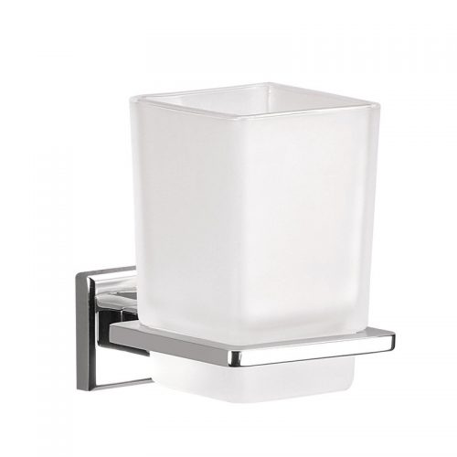 Gedy Colorado Glass Tumbler Holder in Chrome 6910-13