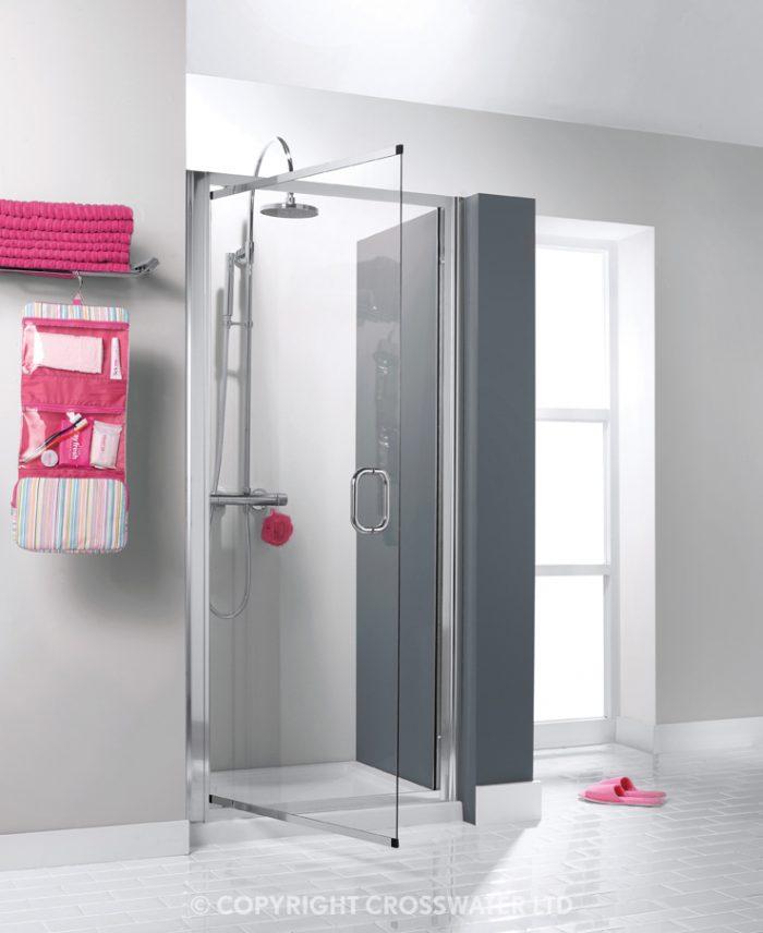Simpsons Luxury 6mm Pivot Shower Door in Silver 900 7312