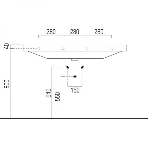 Saneux Poppy 120x50cm 1TH Washbasin With Overflow 7724