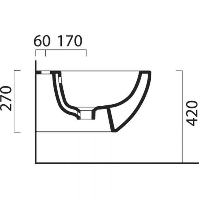 Saneux Poppy Slim Wall Mounted Bidet 7760