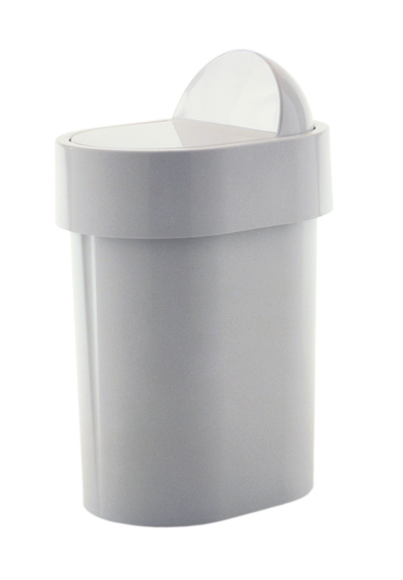 Gedy 4.8L Compact Bathroom Swing Bin White Plastic 8009-02