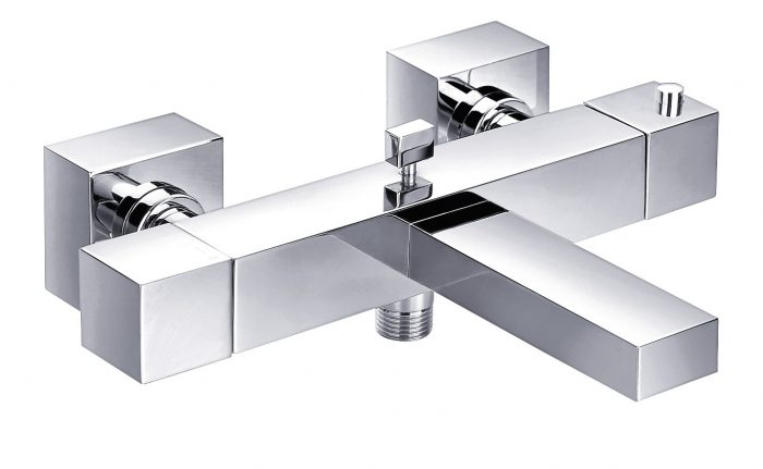 Just Taps Plus Athena square thermo bath shower mixer 86271WH
