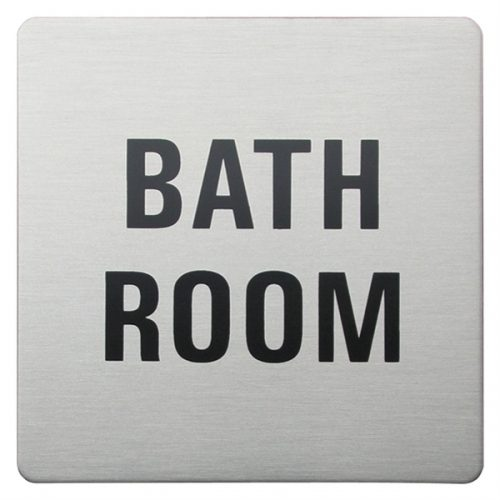 Urban Steel Square Sign - Bathroom In Brushed Steel 8966