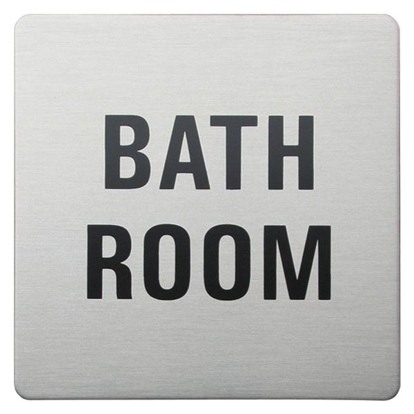 Urban Steel Square Sign - Bathroom In Brushed Steel 8966