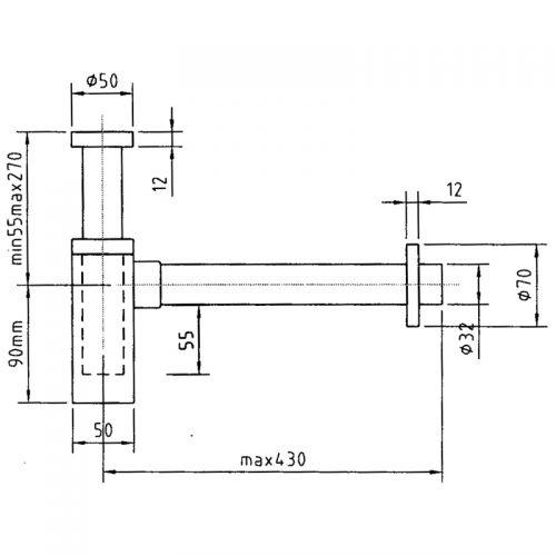 Saneux Picasso square basin sink bottle trap 9574