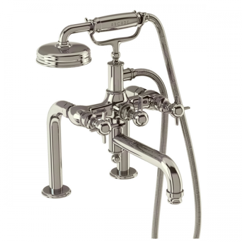 Arcade Nickel Deck Mounted Crosshead Bath Shower Mixer-0