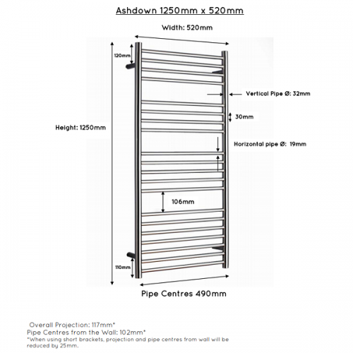 JIS Ashdown 520 Stainless Steel 1250x520mm Heated Towel Rail-22315