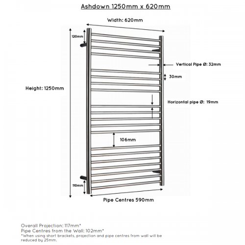JIS Ashdown 620 Stainless Steel 1250x620mm Heated Towel Rail-22323