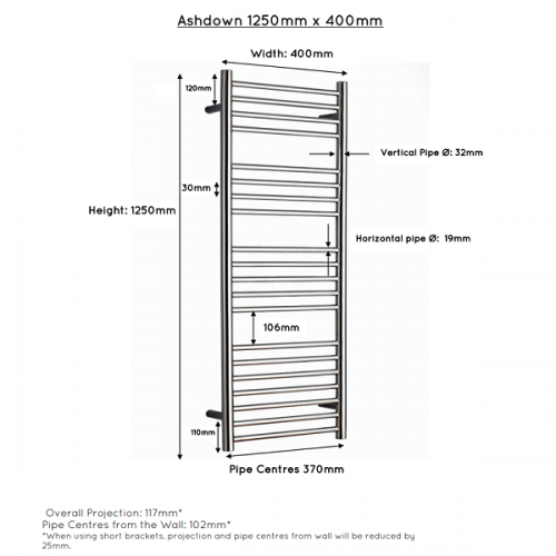 JIS Ashdown 400 Stainless Steel 1250x400mm Heated Towel Rail-22313