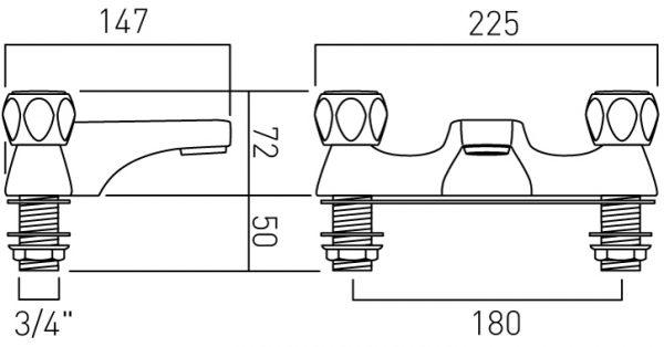 Vado 2H bath filler deck mtd contract handle AST-137-C/P