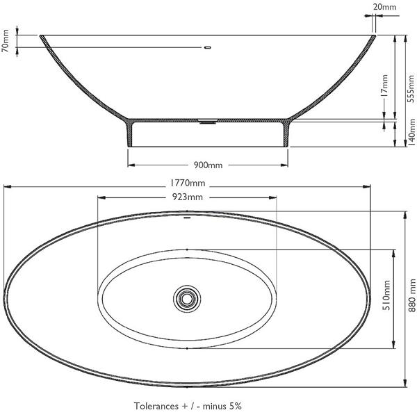 BC Designs Thinn Tasse 1770 x 880mm Contempory Bath-15660