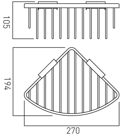 Vado large triangular corner shower basket BAS-2012-C/P