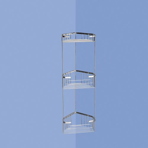 Gedy Triple Corner Wire Basket for a Shower Wall 2484-13-0