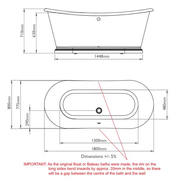 BC Designs 1800 x 800mm Double Skinned Acrylic Boat Bath-15642