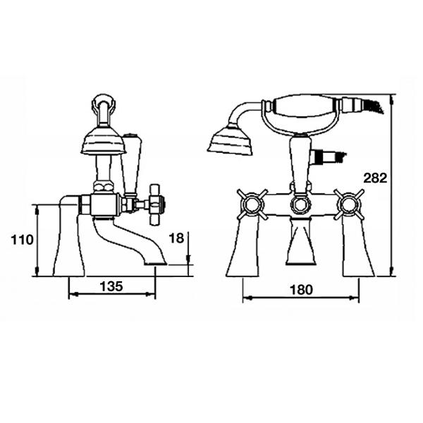 Premier Chrome Beaumont 3/4 Bath Shower Mixer And Kit I354X-21972
