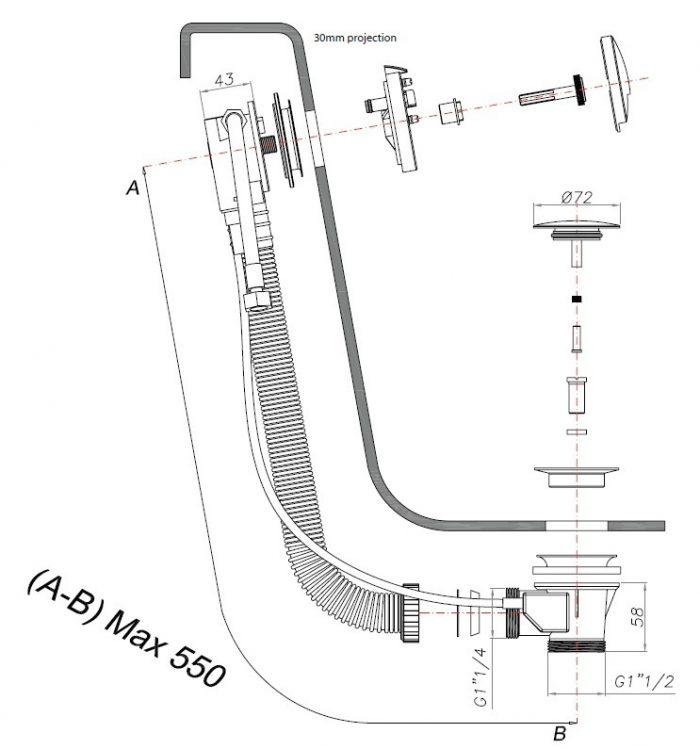 Crosswater VS Slimline Bath Filler and PUW BFW0158C