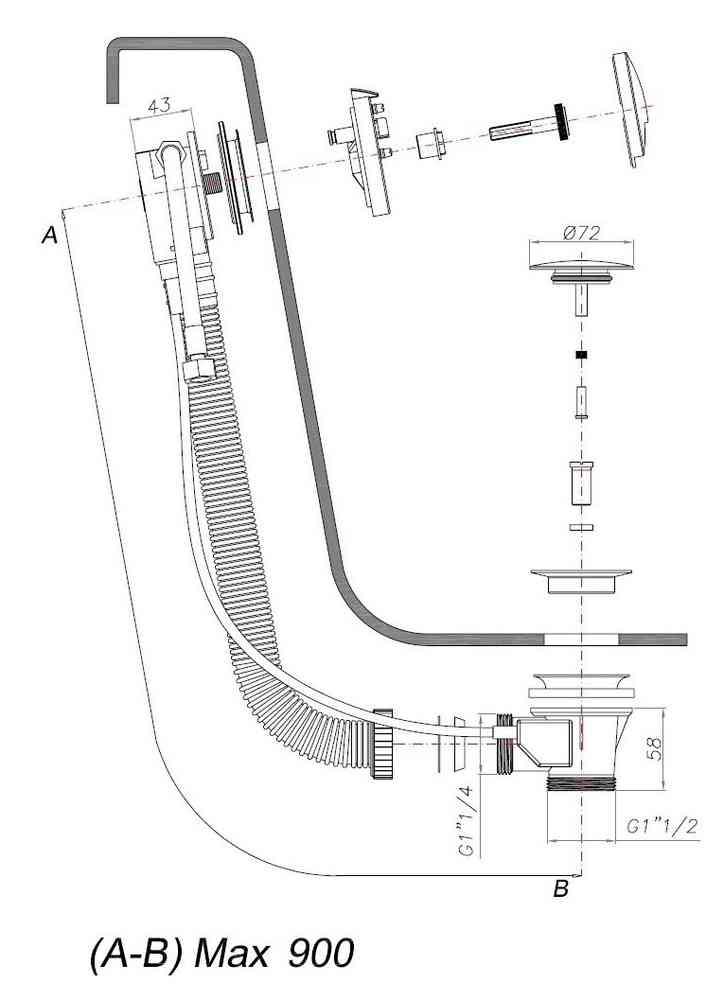 Crosswater Extended Slimline Bath Filler 100cm BFW0159C