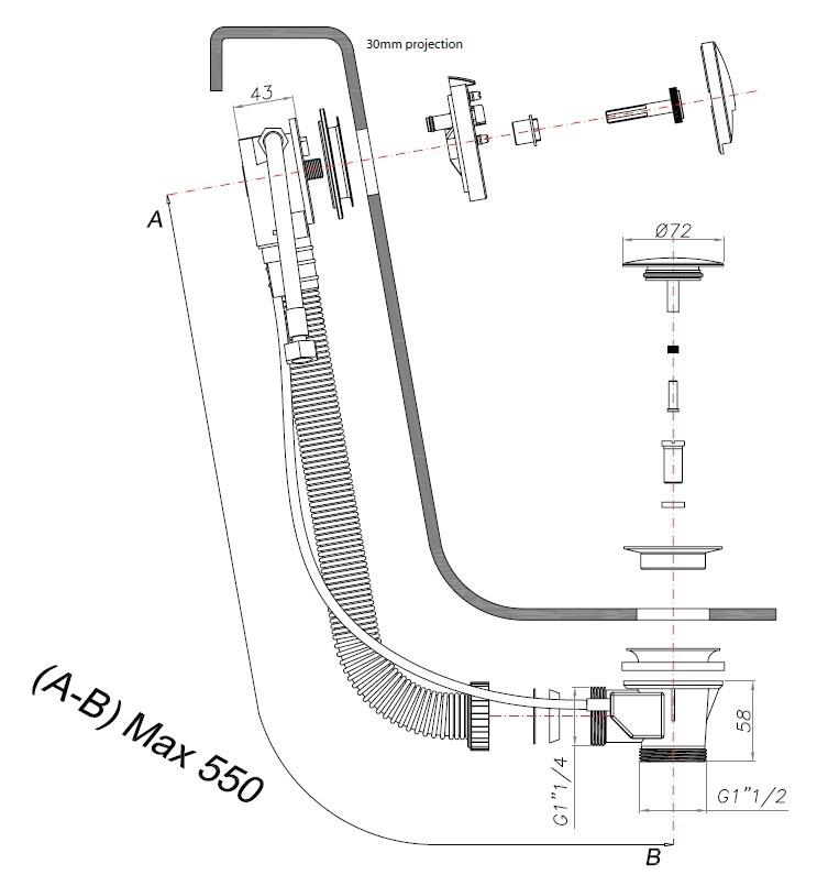 Crosswater Slim Click Clack Bath Filler Exofil BFW0168C