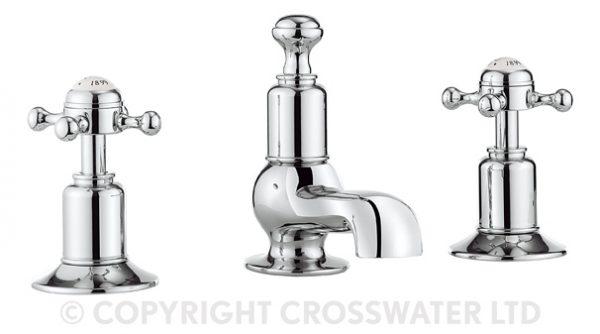 Crosswater Belgravia Crosshead 3th basin mixer BL130DPC