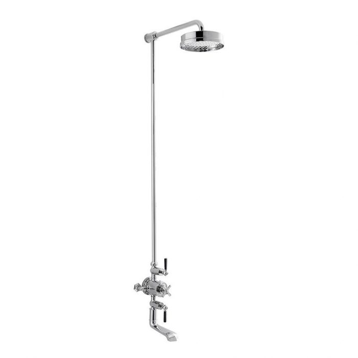 """Waldorf Black Thermo Bath Shower Mixer With 12"""" Head"""