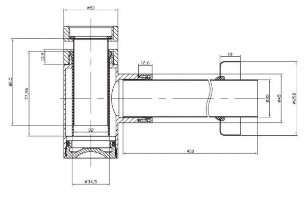Bauhaus Millenium Small Bottle Trap -400mm Pipe BTR0401C