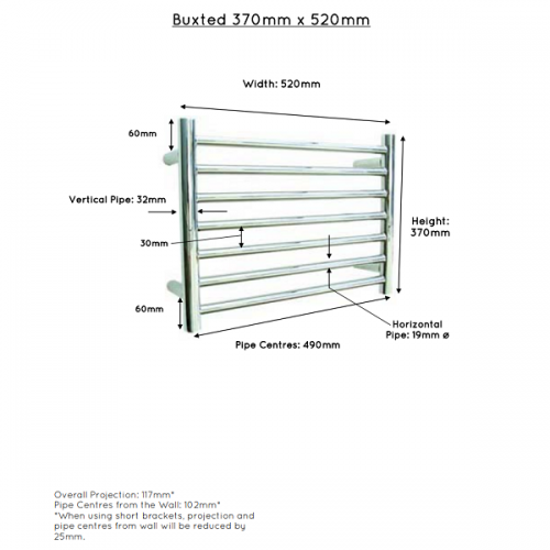 JIS Buxted Stainless Steel 370x520mm Heated Towel Rail-22429