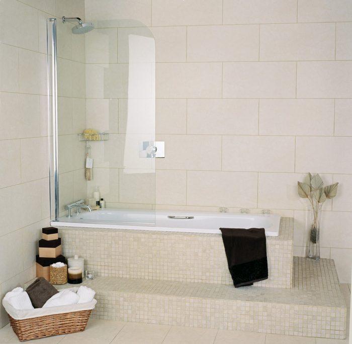 Roman Collage Bath Screen CB Clear Silver CB13S