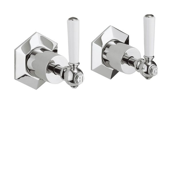 Crosswater Waldorf White Levers Wall Stop Taps WF350WC_LV-0