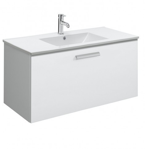 Bauhaus Design 100cm single Drawer White Gloss DE1000DWG