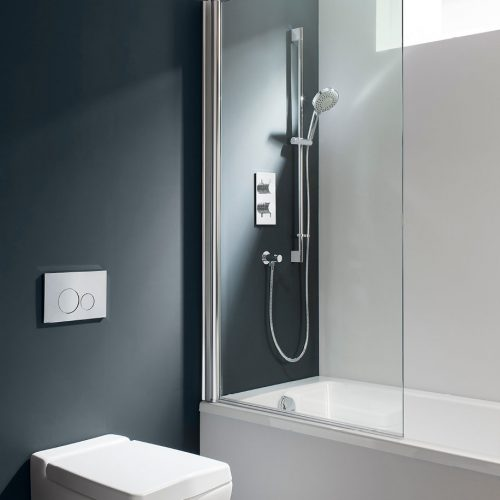 DBSSC0850 swivelling through 180 degrees frameless bath screen Crosswater design