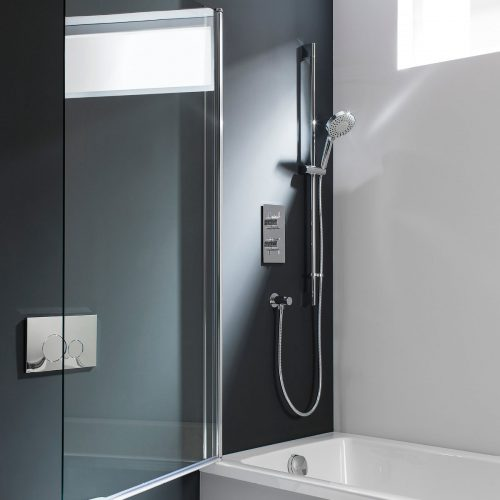 DBSSC0850 swivelling through 180 degrees frame-less bath screen Crosswater design