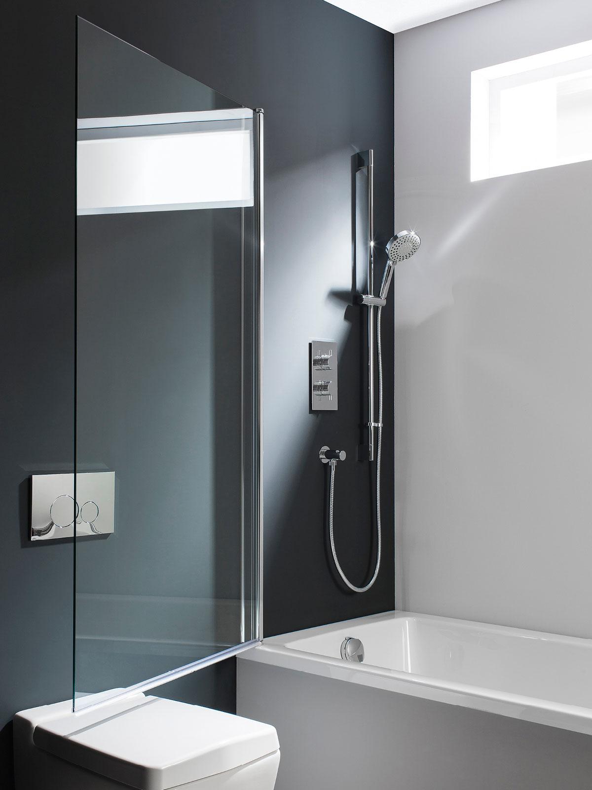 DBSSC0850 swivelling through 180 degrees frame-less bath screen simpsons design