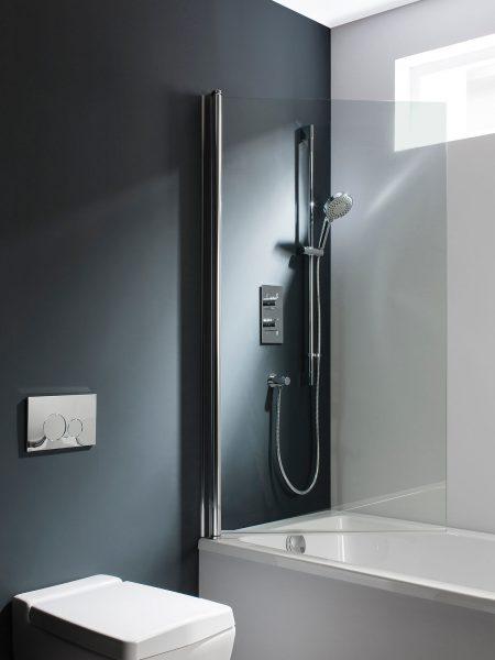 swivelling through 180 degrees frameless bath screen simpsons design