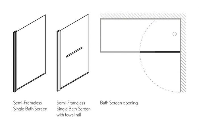 Simpsons Design Swivelling 180 degrees Frameless Bath Screen 850mm DBSSC0850-21885