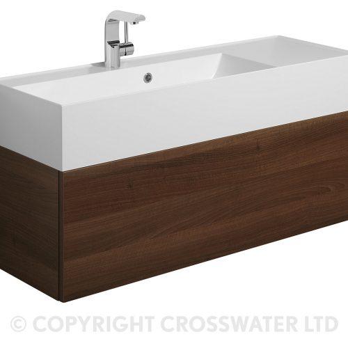 Crosswater Elite Drawer Vanity Unit 100 in Walnut EL1000DWT