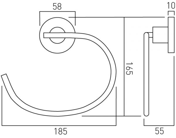 Vado Elements towel ring wall mounted ELE-181-C/P