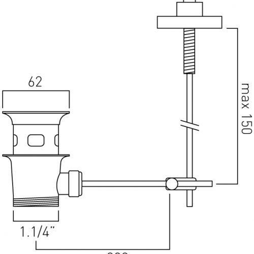"Vado vertical stand alone basin waste 1.1/4"" ELE-PUW/V-C/P"