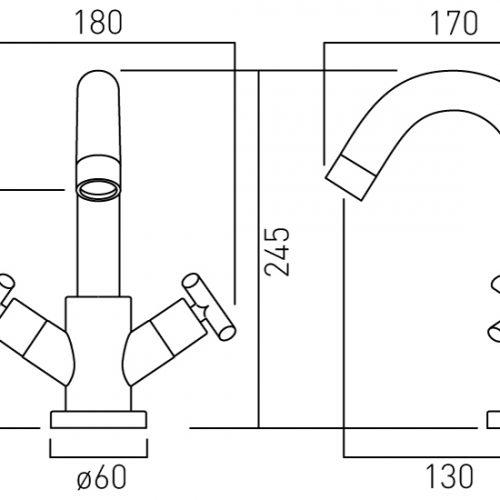 Vado mono basin mixer deck mounted with waste ELW-100-C/P
