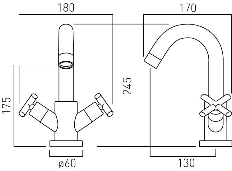 Vado mono basin mixer deck smooth bodied ELW-100/SB-C/P