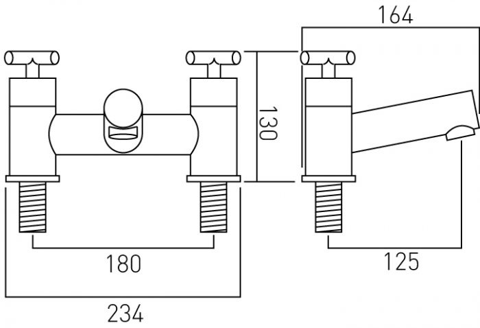 Vado 2 hole bath filler deck mounted ELW-137-C/P