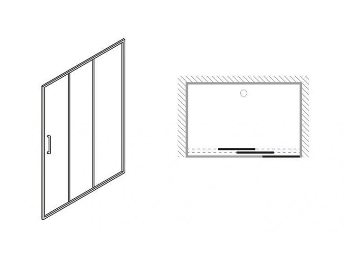 Simpsons Edge Triple Slider Shower Door 1200mm ETSSC1200