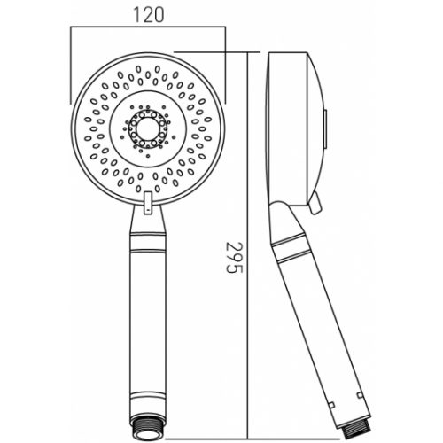 Vado Evolve 4 function LP shower handset EVO-HANDSET/MF-DB-C/P