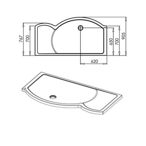 Roman Colossus 1700mm left shower tray and waste FC1L