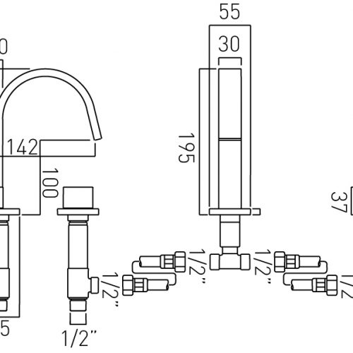 Vado 3 hole minimalist square basin mixer GEO-101-C/P