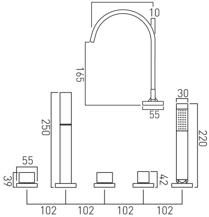 Vado 5 hole bath shower mixer deck mountd GEO-135-3/4-C/P