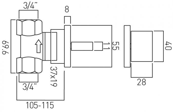 Vado Geo single wall mtd stop valve 3/4'' GEO-143-3/4-C/P