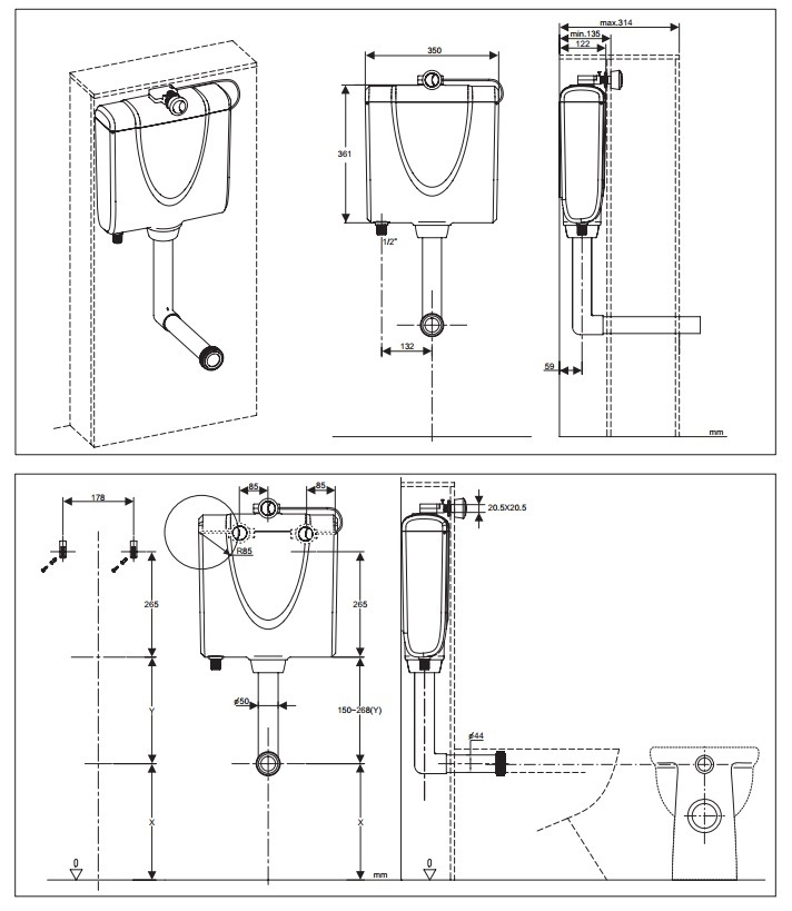Saneux Slimline concealed hidden toilet cistern HC1030