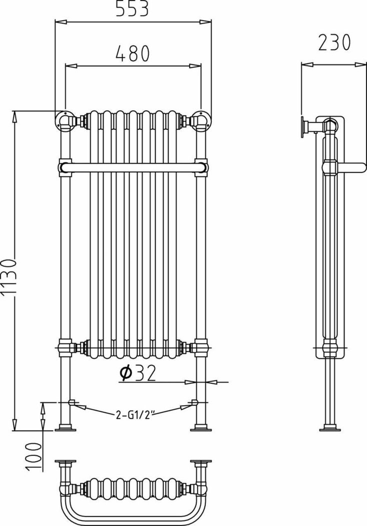 Hudson Reed Chrome And White Traditional Radiator HT339