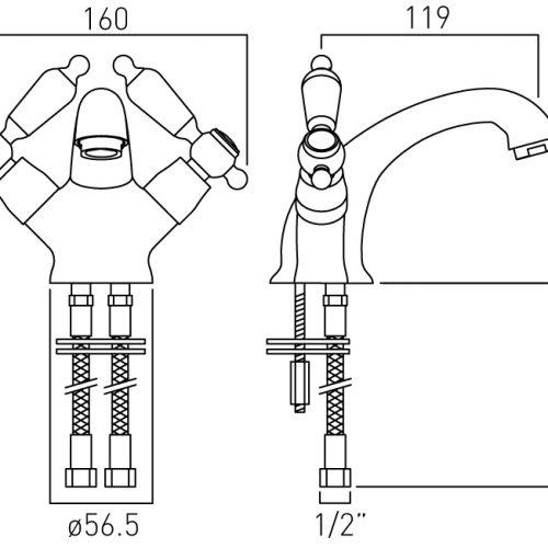 Vado Kensington mono basin mixer tap KEN-100/CD-C/P